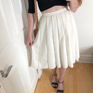 Vintage High Rise Preppy Pleated Linen Midi Skirt